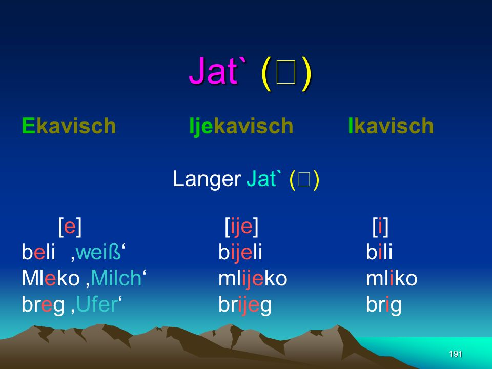 Jat` () Ekavisch Ijekavisch Ikavisch Langer Jat` () [e] [ije] [i]
